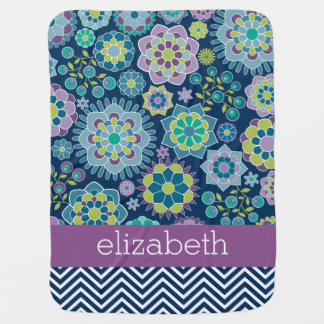 Colorful Spring Floral Pattern Custom Name Baby Blankets