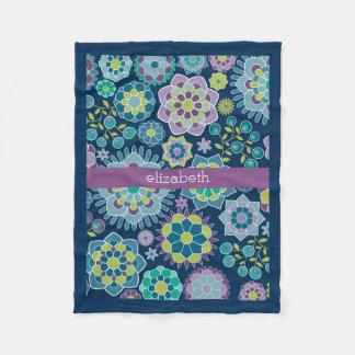 Colorful Spring Floral Pattern Custom Name Fleece Blanket