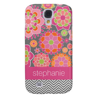 Colorful Spring Floral Pattern Custom Name Galaxy S4 Case