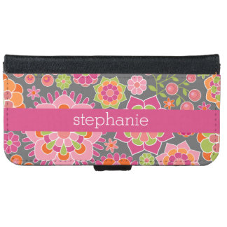 Colorful Spring Floral Pattern Custom Name iPhone 6 Wallet Case