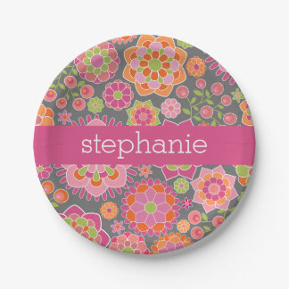 Colorful Spring Floral Pattern Custom Name 7 Inch Paper Plate