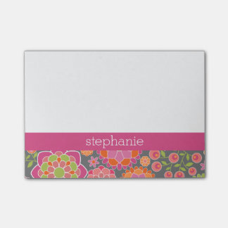 Colorful Spring Floral Pattern Custom Name Post-it Notes