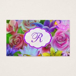 Colorful Spring Flower Pattern Business Card