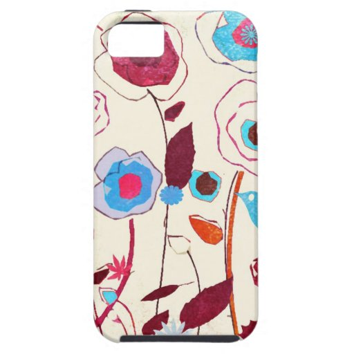 Colorful Spring Flowers Birds Mulberry Blue Orange iPhone 5 Covers