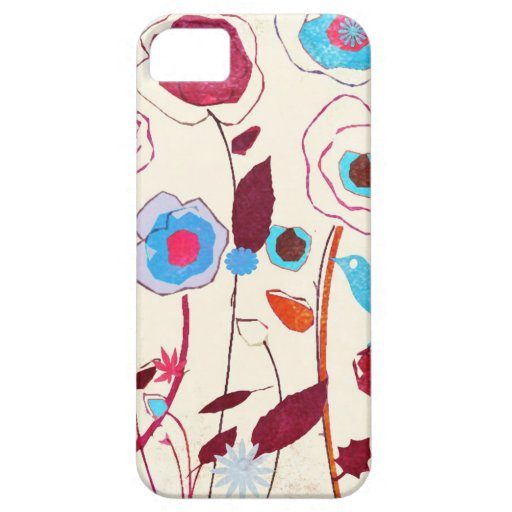 Colorful Spring Flowers Birds Mulberry Blue Orange iPhone 5 Cover