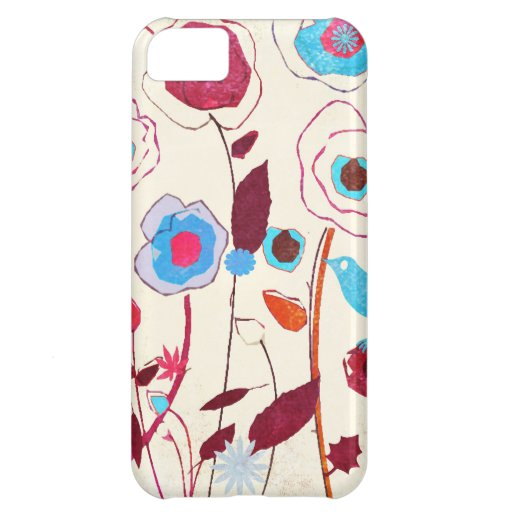 Colorful Spring Flowers Birds Mulberry Blue Orange iPhone 5C Case