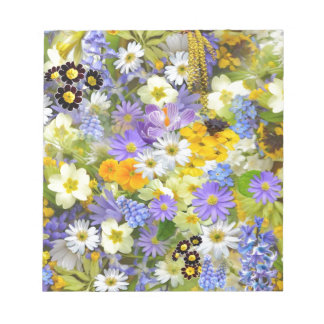 Colorful spring flowers composition notepad