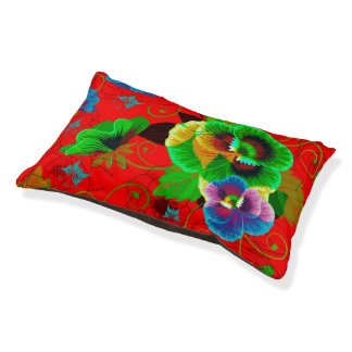 Colorful Spring Flowers Design Red Background Pet Bed