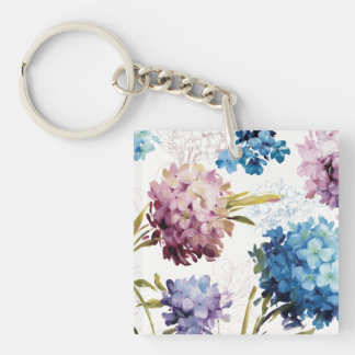Colorful Spring Flowers Double-Sided Square Acrylic Key Ring
