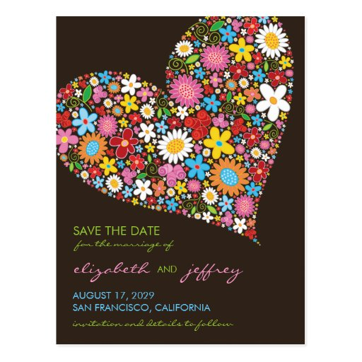 Colorful Spring Flowers Heart Love Save The Date Post Card