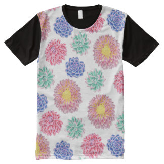 Colorful Spring Flowers Pattern All-Over Print T-Shirt