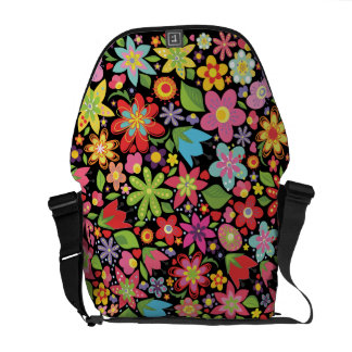 Colorful Spring Flowers Pattern Messenger Bag