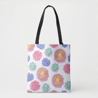Colorful Spring Flowers Pattern Tote Bag