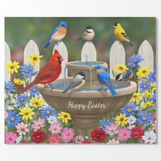 Colorful Spring Garden Bird Bath Wrapping Paper