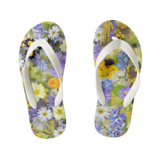 Colorful Spring Meadow Flowers Kid's Flip Flops