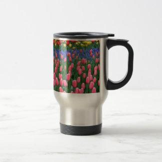Colorful spring tulip garden travel mug