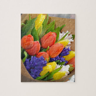 Colorful spring tulips bouquet jigsaw puzzle