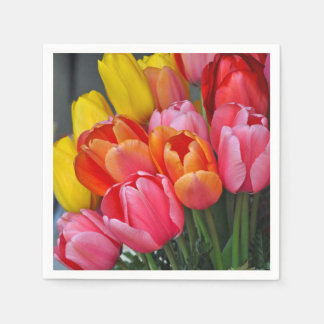 Colorful spring tulips disposable napkin