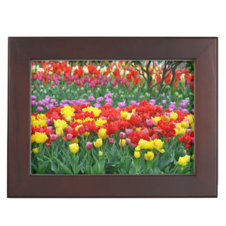 Colorful spring tulips garden keepsake box