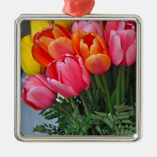 Colorful spring tulips Silver-Colored square decoration