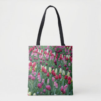 Colorful spring tulips tote bag