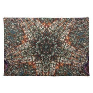 Colorful Spun Stained Glass Window Kaleidoscope Place Mat