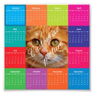 Colorful square customizable 2016 calendar photo print