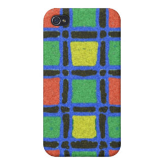Colorful square pattern case for iPhone 4