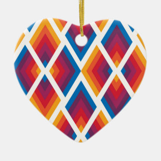 colorful square pattern ceramic heart decoration