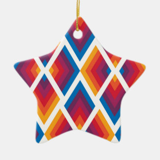 colorful square pattern ceramic star decoration