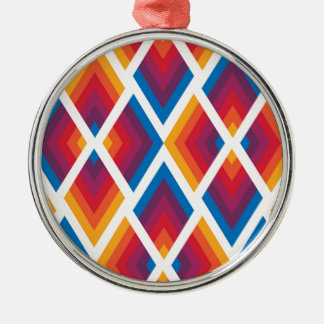 colorful square pattern Silver-Colored round decoration