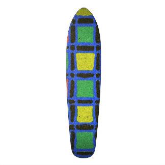 Colorful square pattern 21.6 cm skateboard deck