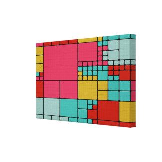 Colorful squares abstract design canvas print