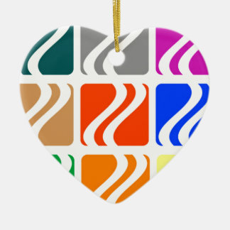 Colorful squares abstract pattern ceramic heart decoration