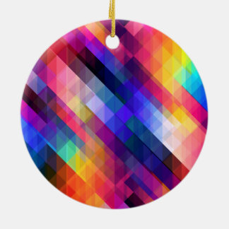 Colorful Squares Geometric Abstract Pattern Christmas Ornament
