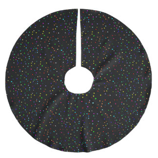 Colorful Squares Pattern on Black Background Brushed Polyester Tree Skirt
