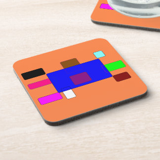 Colorful Squares Pattern on Black Background Coaster