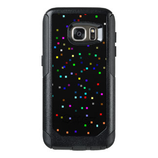 Colorful Squares Pattern on Black Background OtterBox Samsung Galaxy S7 Case