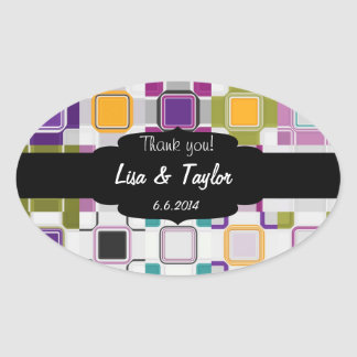 Colorful squares pattern oval sticker