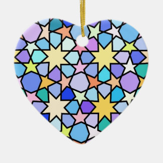 Colorful Stain glass effect Stars Pattern Ceramic Heart Decoration