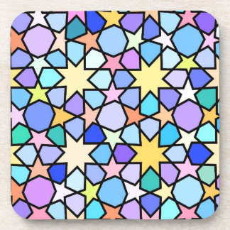 Colorful Stain glass effect Stars Pattern Coaster