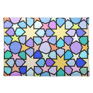 Colorful Stain glass effect Stars Pattern Place Mats