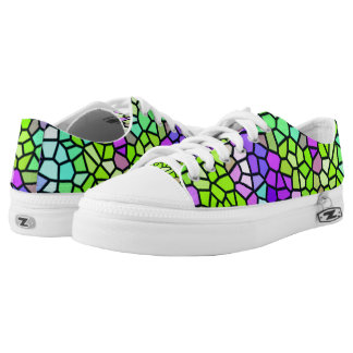 Colorful stained glass pattern low tops