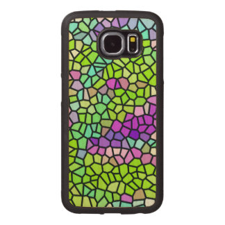 Colorful stained glass pattern wood phone case