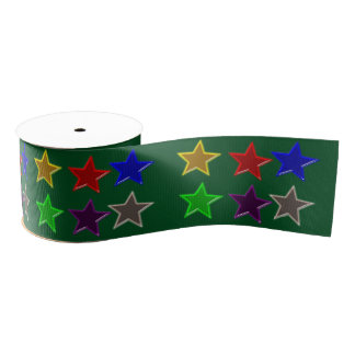 Colorful star buttons grosgrain ribbon
