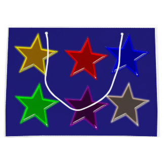 Colorful star buttons large gift bag