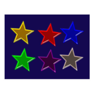 Colorful star buttons postcard