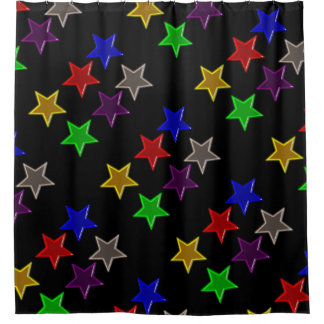 Colorful star buttons shower curtain