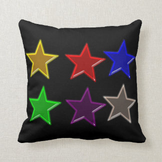 Colorful star buttons throw cushion
