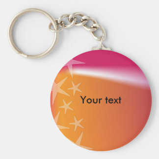 Colorful star design basic round button key ring
